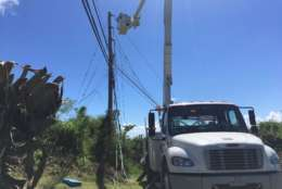 Stateside utility crews are making great progress at restoring St. John's grid. (WTOP/Jeff Clabaugh)