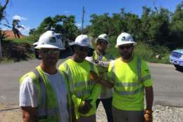 Linemen from Joplin, Missouri-based BBC Electric. (WTOP/Jeff Clabaugh)