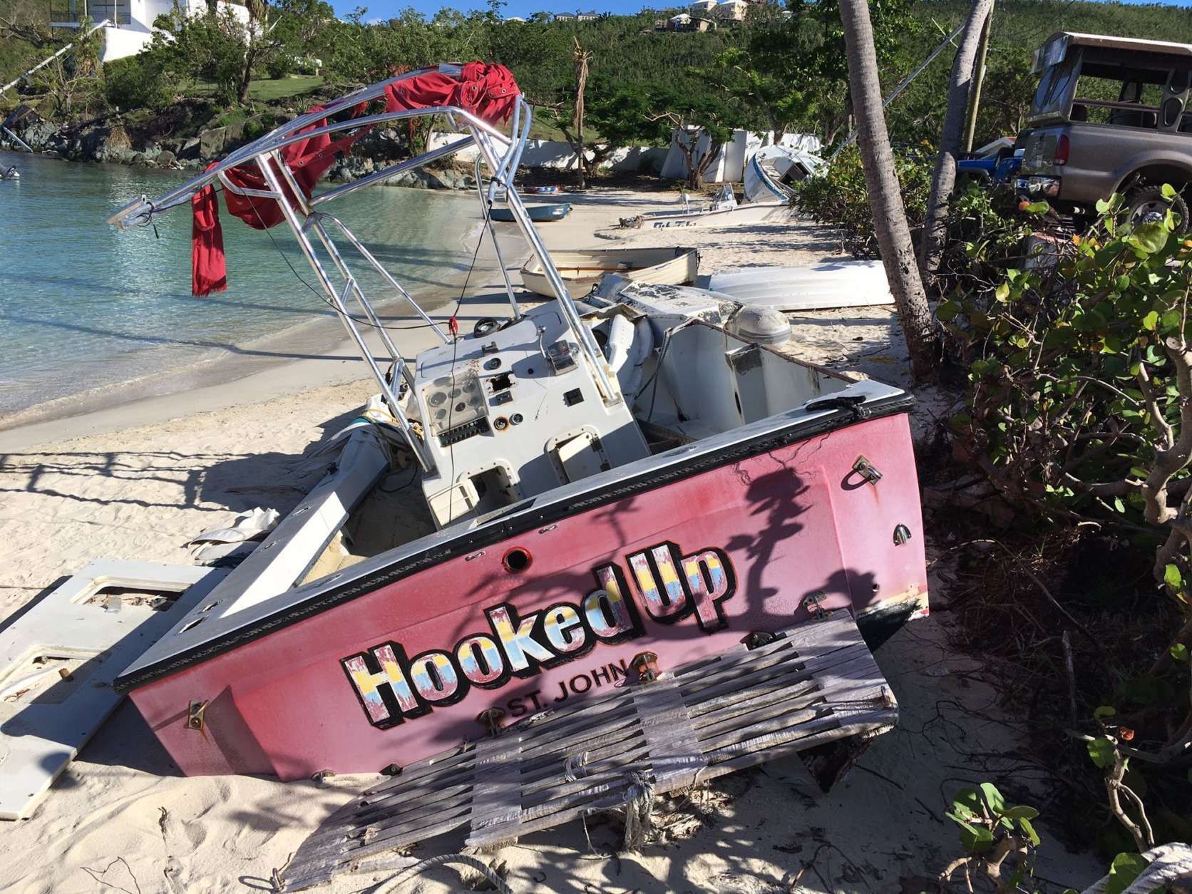 Many beaches are still lined with boats that washed ashore. (WTOP/Jeff Clabaugh)