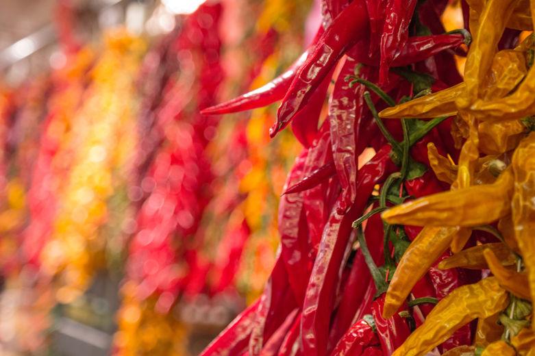 chili pepper in a stand of boqueria market
