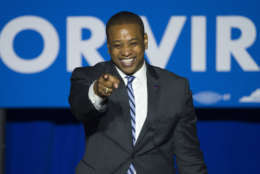 Democrat Lt. Gov.-elect Justin Fairfax addresses the Ralph Northam For Governor election night party at George Mason University in Fairfax, Va., Tuesday, Nov. 7, 2017. (AP Photo/Cliff Owen)