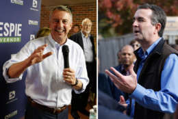 Republican Ed Gillespie, left, and Democrat Ralph Northam, right, rally supporters at get out the vote events before the Nov. 7 election. (The Associated Press)