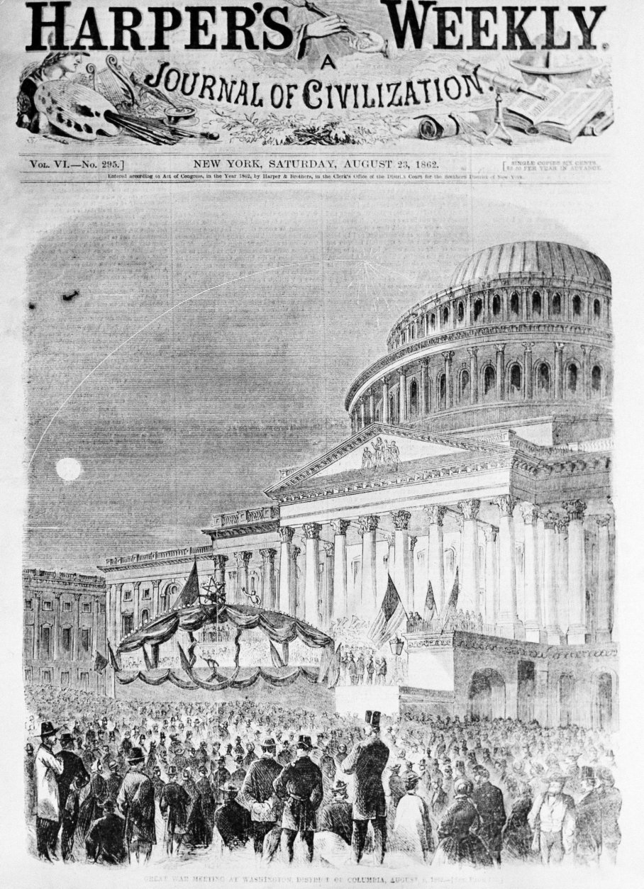 Illustrated cover of the American political magazine Harper's Weekly depicting a Civil War rally in 1862.  (AP Photo)