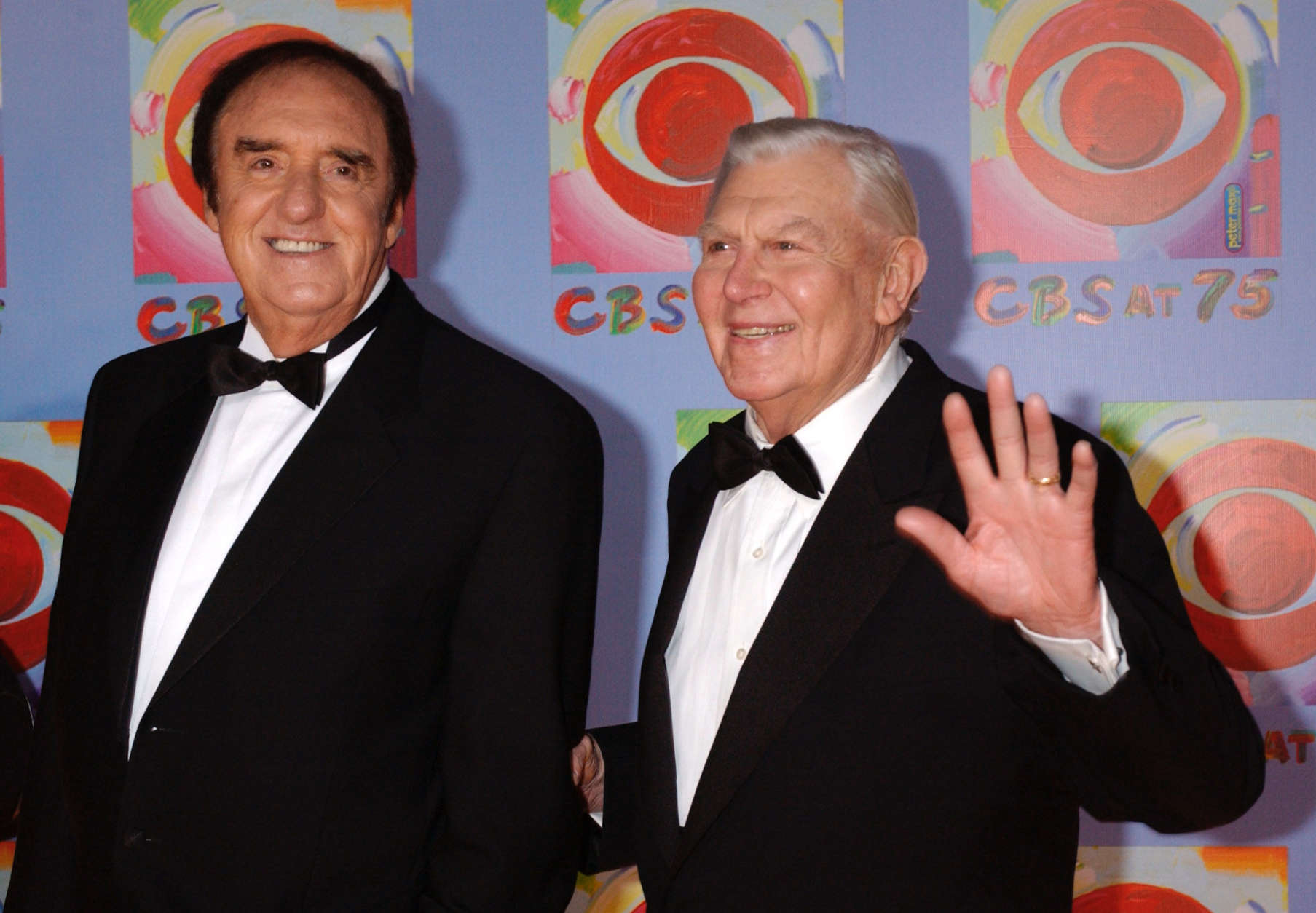Actors Jim Nabors, left, and Andy Griffith arrive to CBS's 75th anniversary celebration Sunday, Nov. 2, 2003, in New York.  (AP Photo/Louis Lanzano)