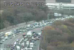 A view of the Inner Loop delay as a result of the police activity. The photo was taken from Maryland State Highway Administration cameras around 2:20 p.m. (Courtesy Maryland State Highway Administration)