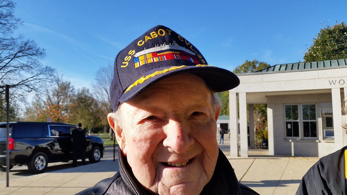 Saturday was this World War II vet's first time at the World War II Memorial. Gerry Mendelson is 95-years-old and joined the Navy after Pearl Harbor was bombed. (WTOP/Kathy Stewart)