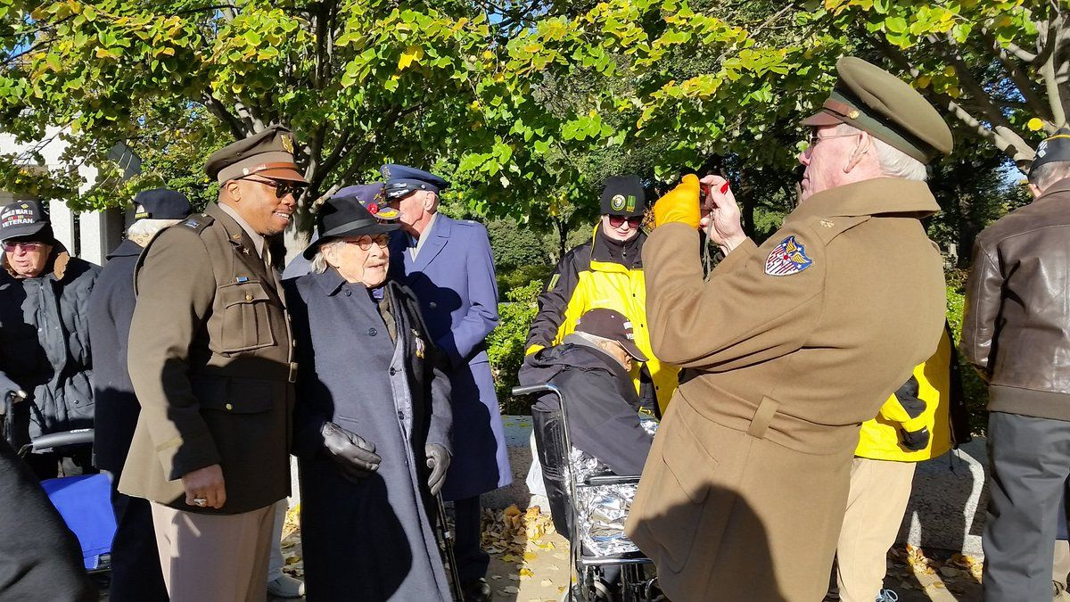 WW II veteran Ewing Miller was a B-24 bomber pilot assigned to the Flying Horseman. He flew over 20 missions in February 1945. His plane was downed. He was the sole survivor and was captured. He participates in WWll ceremonies as a way to honor lost crew members. (WTOP/Kathy Stewart)