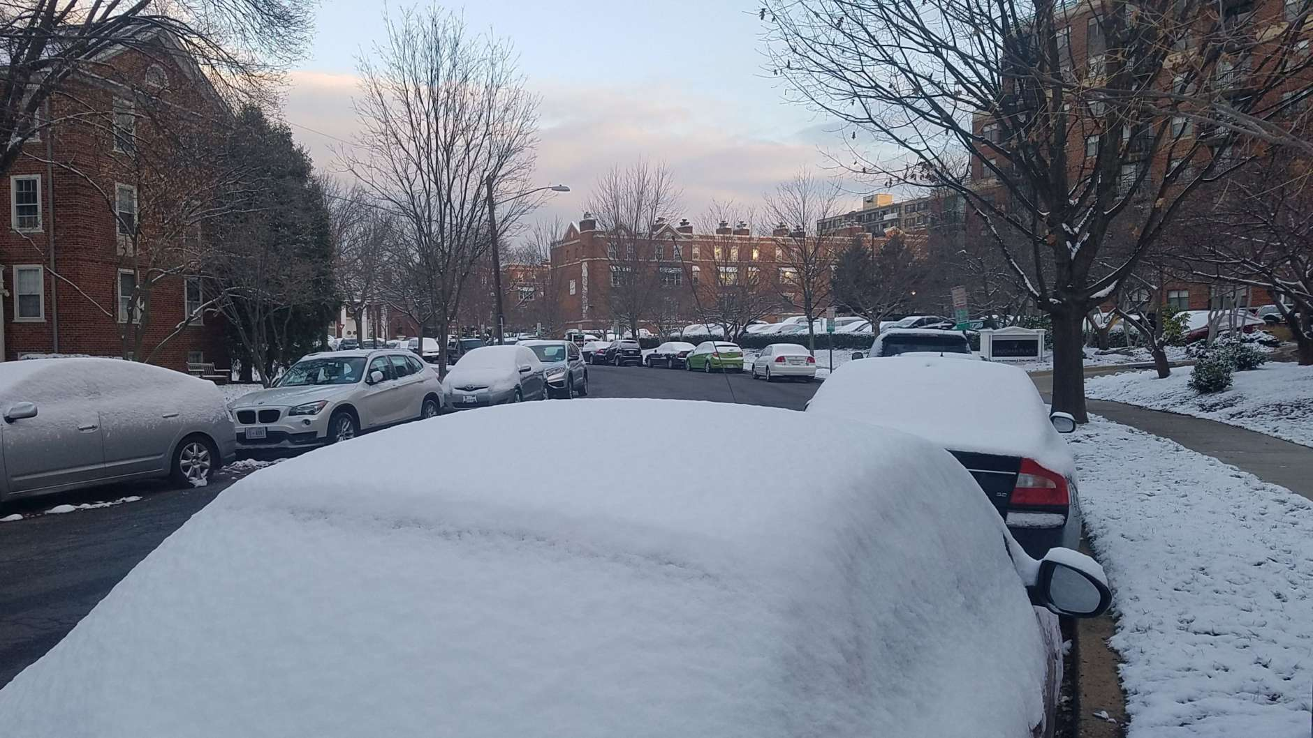 Vehicles sit with a covering of snow in northwest D.C. Sunday morning. (WTOP/William Vitka)