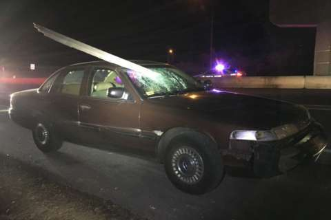 Montgomery Co. police: Driver hits sign pole, which lodges in windshield