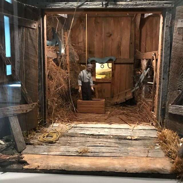 "In this photo: ""The Case of the Hanging Farmer"" diorama, about 1933-44. (WTOP/Nahal Amouzadeh)"