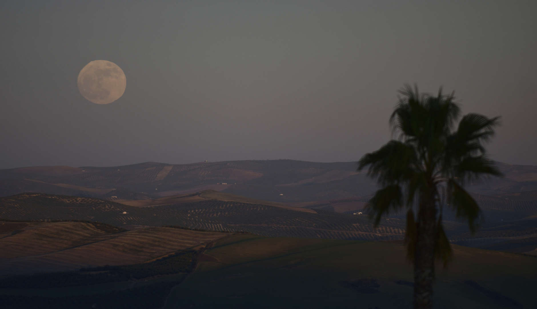 """The first supermoon of 2018, seen from the countryside in Montemayor near of Cordoba, southern Spain, Monday, Jan. 1, 2018. A """"supermoon"""" occurs when the moon appears bigger and brighter in the sky. (AP Photo/Manu Fernandez)"""