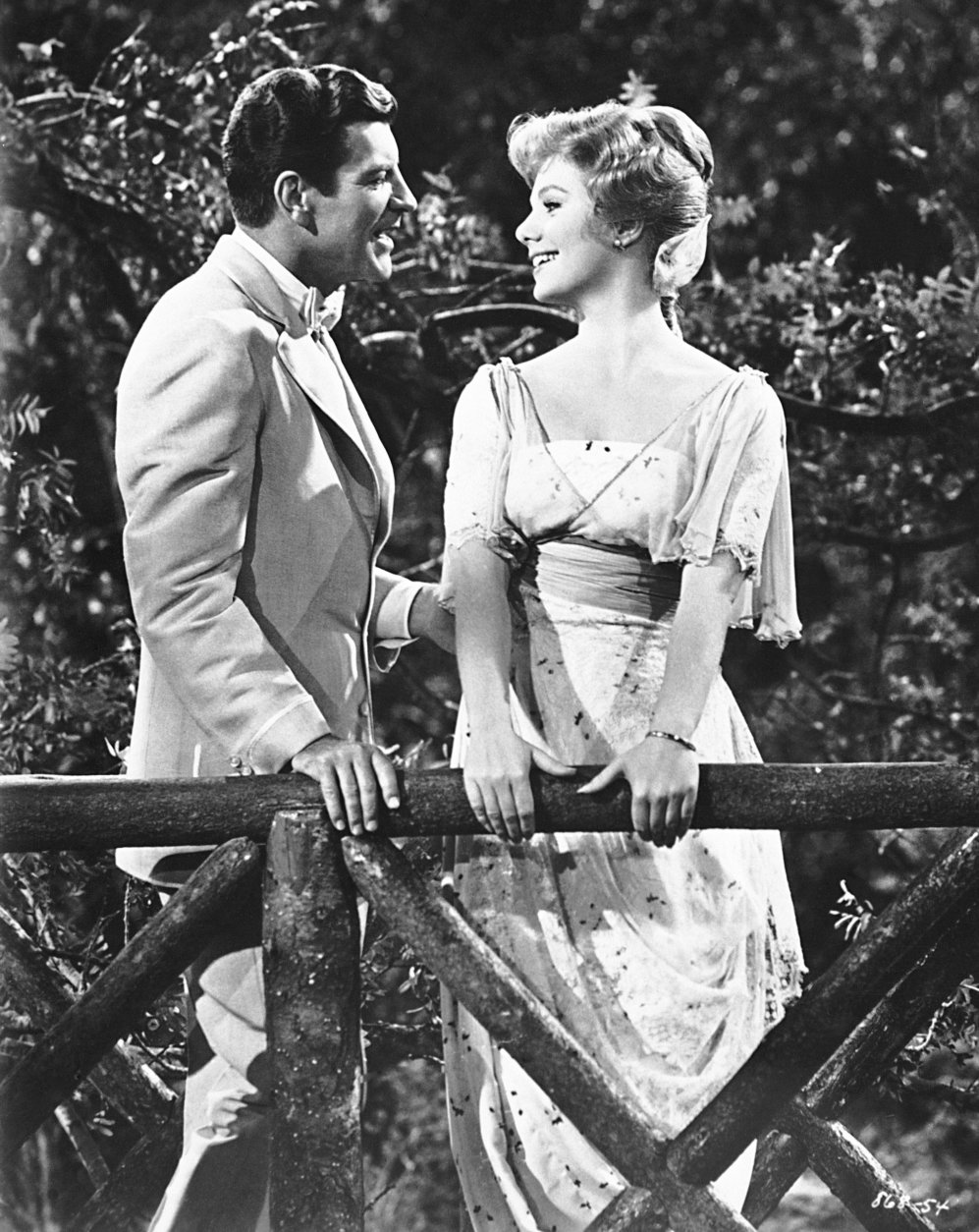 "FILE - This 1962 file photo shows actors Robert Preston, left, and Shirley Jones during the filming of the movie version of the Broadway musical ""Music Man."" NBC Entertainment Chairman Bob Greenblatt said Monday, May 12, 2014, the network has acquired rights for a TV version of the 1957 Meredith Willson musical. NBC says it's planning to air a live production. The network had success with a live production of ""The Sound of Music"" starring Carrie Underwood and is following that with a live version of ""Peter Pan"" in December.  (AP Photo/Harold Filan, File)"