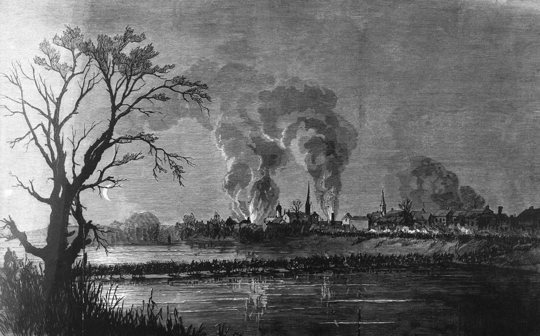 Union army, under General Ambrose Everett Burnside, crosses the Rappahannock River on pontoon bridges during the attack on Fredericksburg, Virginia depicted in this undated rendering by combat artist Frank Schell. (AP Photo)