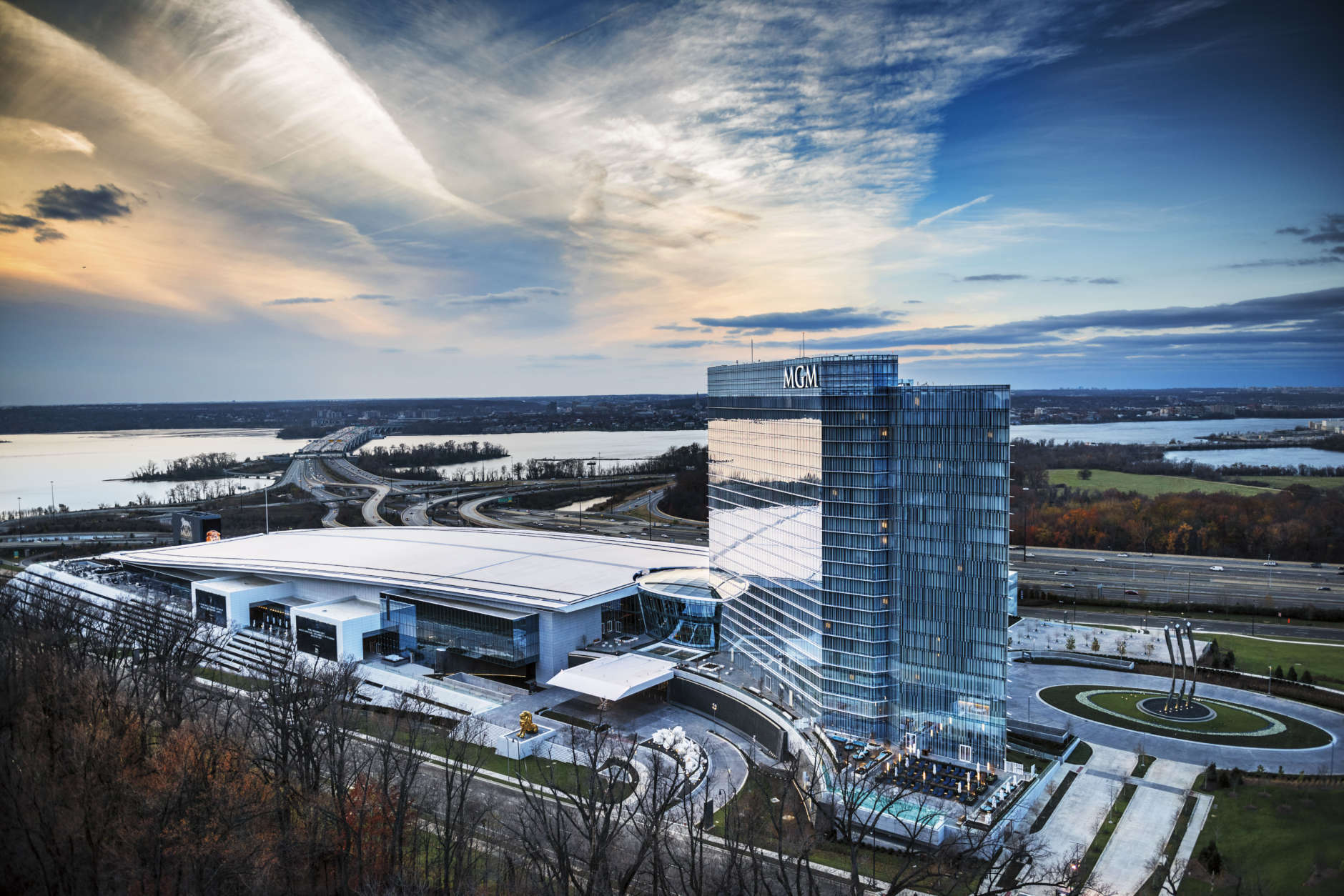 An aerial view of MGM National Harbor. The venue celebrates its one-year anniversary on Dec. 8, 2017. (Courtesy MGM National Harbor)