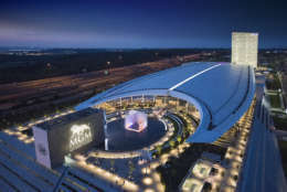 An aerial view of MGM National Harbor captured during a spring sunset. (Courtesy MGM National Harbor)