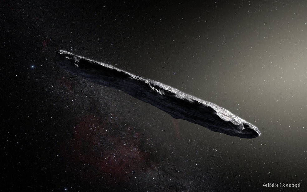 An artist's concept of interstellar asteroid 1I/2017 U1 ('Oumuamua) as it passed through the solar system after its discovery in October 2017. The aspect ratio of up to 10:1 is unlike that of any object seen in our own solar system. (Courtesy European Southern Observatory/M. Kornmesser)