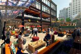 Quarter Market Food Hall, a 25,000-square-foot food emporium, will be one of the largest food halls in the D.C. area and will serve as the anchor to the Ballston Quarter project. (Courtesy Forest City Washington)