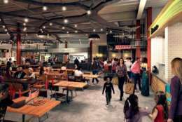 """Once opened, the food hall will truly re-energize Northern Virginia's food scene, allowing residents to enjoy the region's most beloved restaurants,"" she said.(Courtesy Forest City Washington)"
