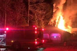 Fire ravaged a house on Brink Road between Davis Mill Road and Blunt road in Germantown Thursday, Dec. 21, 2017. (Courtesy Montgomery County Fire & Rescue)