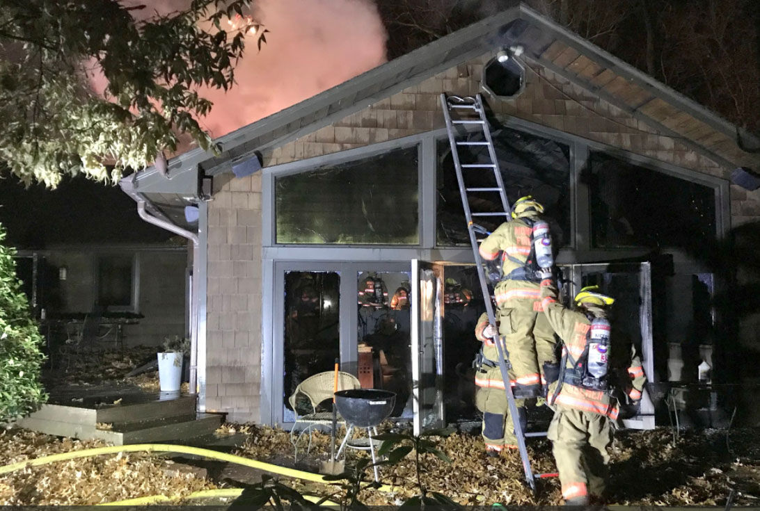 Montgomery County firefighters put out a fire that broke out in a house on Brink Road, Thursday, Dec. 21, 2017. (Courtesy Montgomery County Fire & Rescue)