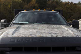 The Oyster Recovery Partnership's Ford F-550 truck has an oyster-camouflage hood. (Alex Mann/Capital News Service)