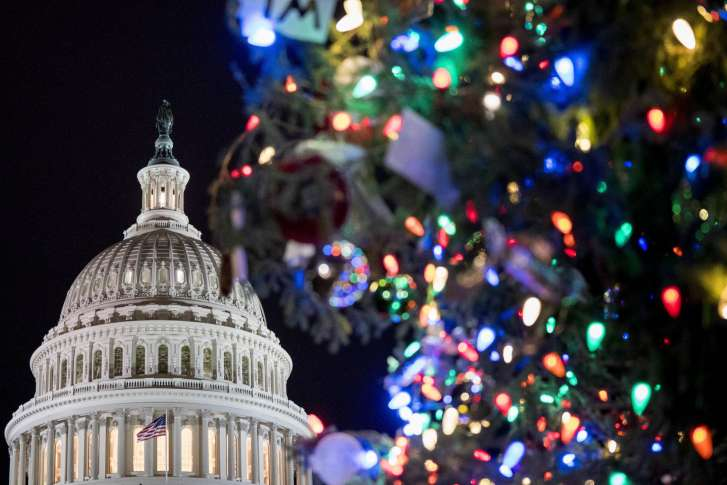 the 2017 capitol christmas tree is lit on the west lawn of the us capitol wednesday dec 6 2017 in washington the capitol christmas tree has