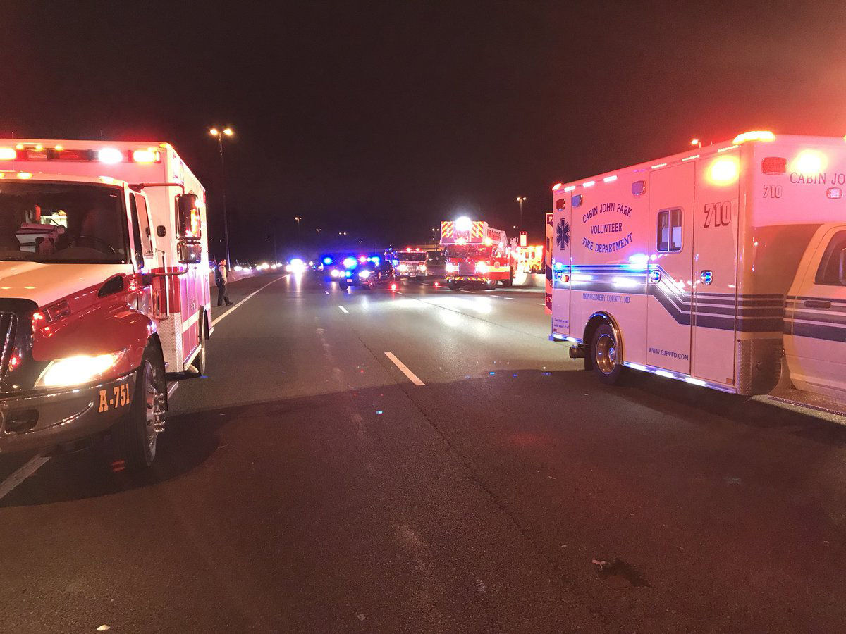 I-270 was closed last Friday in both directions between Falls Road and Montrose Road while EMS evaluated patients. (Courtesy Montgomery County Police)