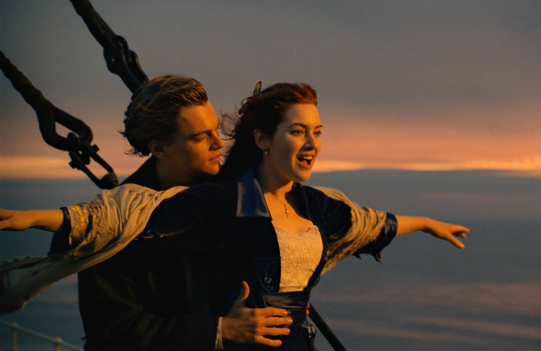 """This image released by Paramount Pictures shows Leonardo DiCaprio, left, and Kate Winslet in a scene from """"Titanic.""""  The film is among the 25 movies being added to the prestigious National Film Registry. (Paramount Pictures via AP)"""