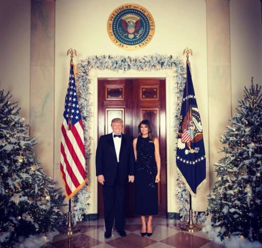 Trump, First Lady Melania pose for their official Christmas portrait