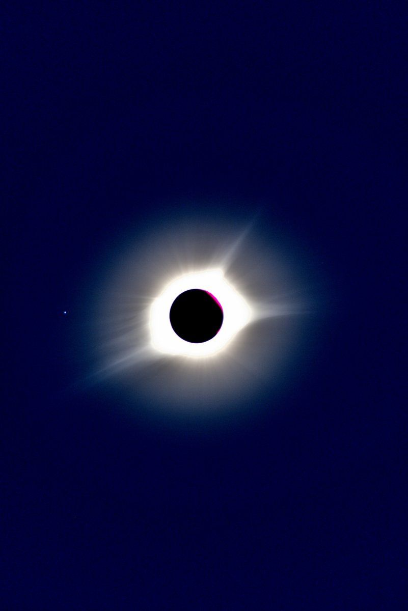 WTOP's Greg Redfern photographed the totally eclipsed sun from Cookeville, Tennessee, and captured the splendor of the outer Corona and prominences. (WTOP/Greg Redfern)