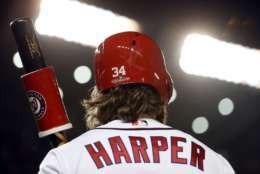 Washington Nationals Bryce Harper (34) stands in the on-deck circle before his at-bat in the fourthinning of Game 5 of baseball's National League Division Series, at Nationals Park, Thursday, Oct. 12, 2017, in Washington. (AP Photo/Alex Brandon)