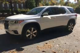 The new look for the 2018 Traverse is more macho, and takes its cues from truck styling. It looks blocky and tough -- less like a typical family hauler. (WTOP/Mike Parris)