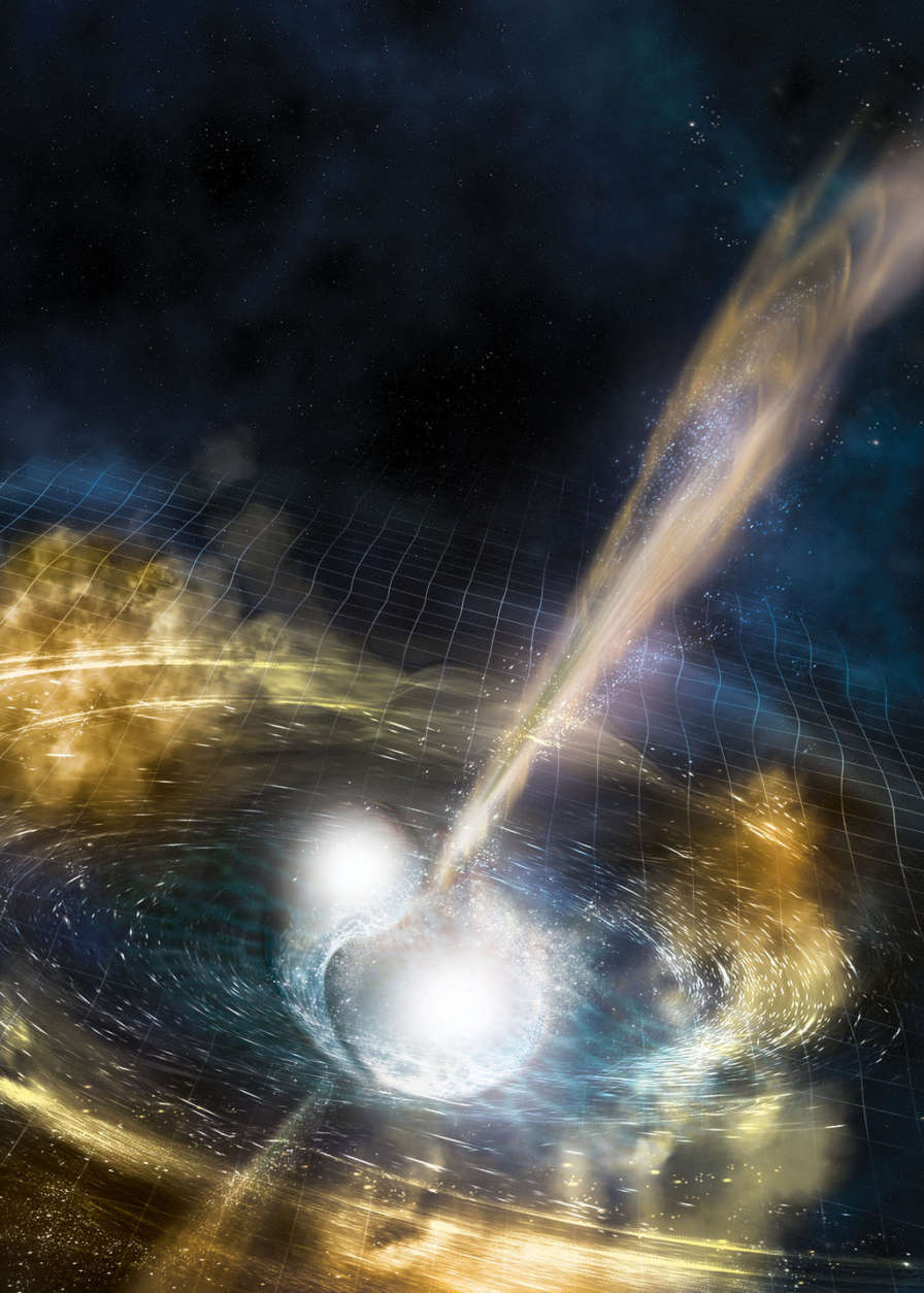This is an illustration of two merging neutron stars. The rippling space-time grid represents gravitational waves that travel out from the collision, while the narrow beams show the burst of gamma rays that are shot out just seconds after the gravitational waves. Swirling clouds of material ejected from the merging stars are also depicted; these clouds glow with visible and other wavelengths of light. (Courtesy National Science Foundation/LIGO/Sonoma State University/A. Simonnet)