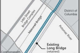 One option is to build a new two-track bridge just upstream. (Courtesy Long Bridge Project)