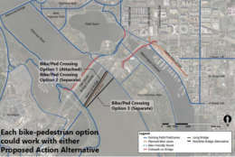 The plans could include an option for bicyclists and pedestrians to travel between Arlington and D.C. (Courtesy Long Bridge Project)
