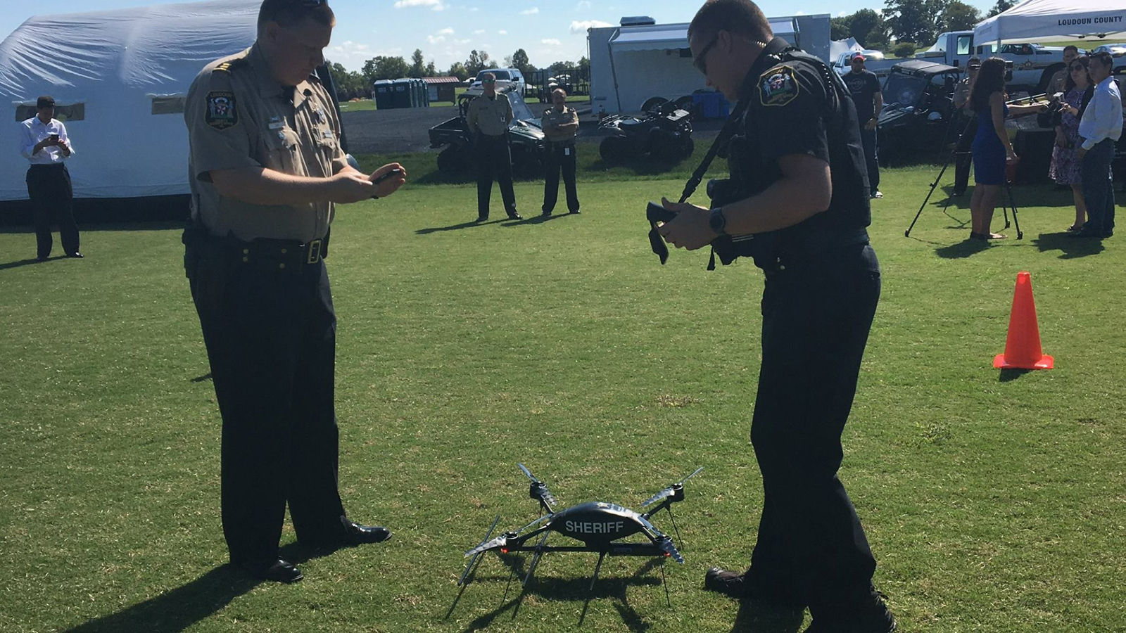Officers with the Loundoun County Sheriff's Office test out a drone the deparment purchased as part of the county's Operation Lifesaver program. (Courtesy Loudoun County Sheriff's Office)