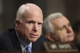 """Following his defeat in the 2008 presidential election, McCain returned to the Senate and won re-election in 2010 and 2016. Senate Armed Services Committee Chairman Sen. John McCain, R-Ariz., left, and the committee's ranking member Sen. Jack Reed, D-R.I. listen on Capitol Hill in Washington, Thursday, Jan. 5, 2017, during the committee's hearing: """"Foreign Cyber Threats to the United States.""""   (AP Photo/Manuel Balce Ceneta)"""