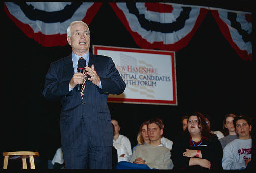Sen. John McCain speakes a Presidential Candidates Youth Forum on January 9, 2000 at Saint Anslem College in Manchester, New Hampshire ahead of the 2000 Republican primary in New Hampshire. (Joseph Sohm/Getty)