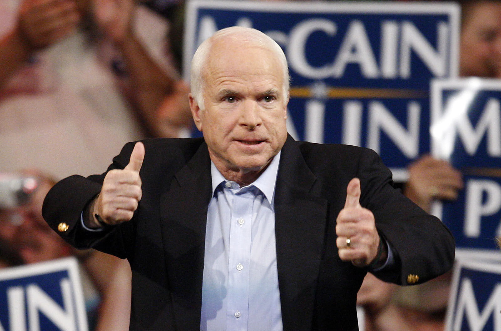 Republican presidential candidate Sen. John McCain, R-Ariz., speaks during a rally in Henderson, Nev. Monday, Nov. 3, 2008. (AP Photo/Isaac Brekken)