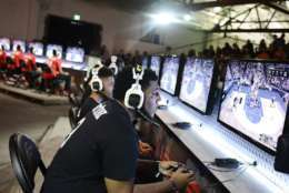 IMAGE DISTRIBUTED FOR NBA 2K - Team Drewkerbockers seen at the NBA 2K16 Road to the Finals championship event on Wednesday, June 1, 2016, in Los Angeles. Two teams of gamers go head to head during a competition that merges simulation basketball with eSports for a shot at $250,000 and a trip to the 2015-2016 NBA Finals. (Photo by Dan Steinberg/Invision for NBA 2K/AP Images)