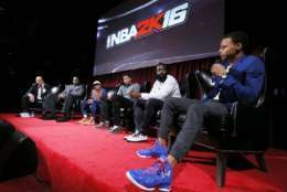 IMAGE DISTRIBUTED FOR 2K - Pictured from left to right, Ernie Johnson, Shaquille O'Neal, Spike Lee, Anthony Davis, James Harden and Steph Curry tell all at the NBA 2K16 Uncensored Premiere Event at Marquee on Monday, Sept. 21, 2015, in New York. (Photo by Stuart Ramson/Invision for 2K/AP Images)