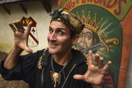 This Sept. 3, 2016 photo shows Johnny Fox, who is in his 38th season performing at the Maryland Renaissance Festival, in Crownsville, Md.  The sword-swallowing magician who presented his quirky art form to enthusiastic audiences around the world has died.  A close friend, Barbara Calvert, says  Fox succumbed to cancer on Sunday, Dec. 17, 2017 in Maryland. He was 64.   (Amy Davis/The Baltimore Sun via AP)
