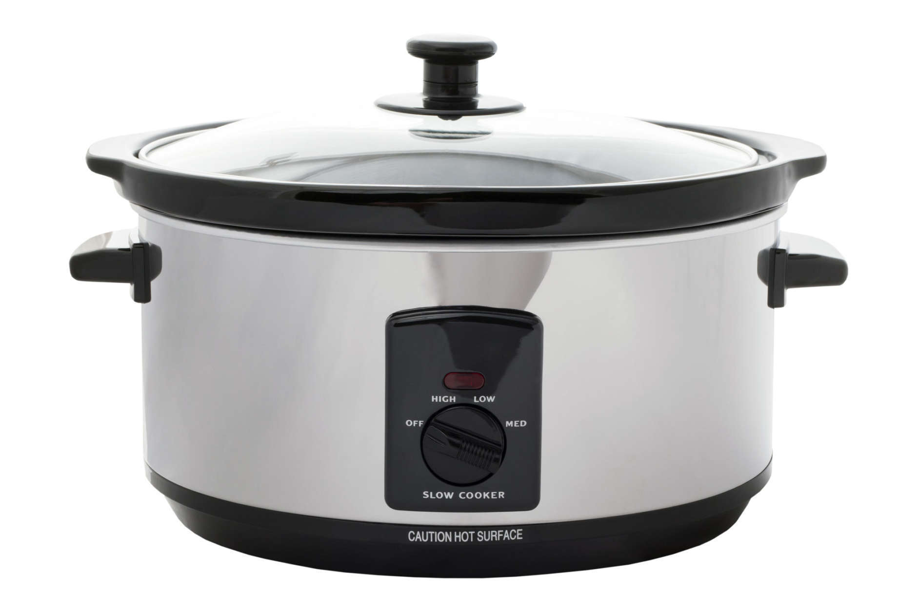 Slow cooker on an isolated white background with a clipping path