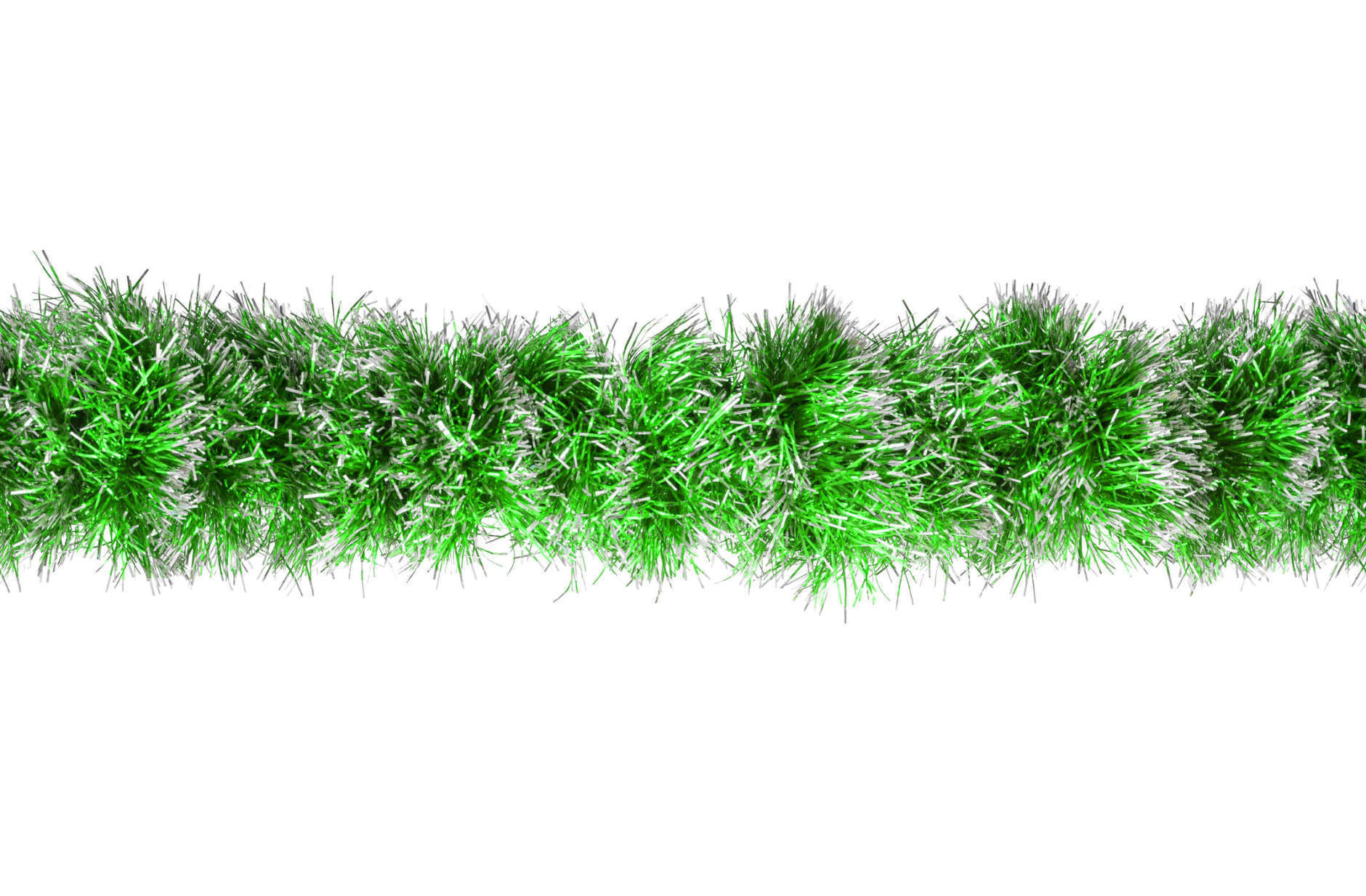 Seamless Christmas green silver tinsel. Isolated on a white background.