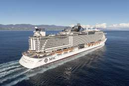 This Dec. 11, 2017 image provided by MSC shows the cruise line's new ship MSC Seaside off the coast of Trieste, Italy, following its launch. The ship was named best new ship of 2017 Tuesday, Dec. 12, in Cruise Critic's annual awards. The ship will be christened Dec. 21 in Miami before starting its sailings to the Caribbean. It features an interactive aquapark, an open-air promenade and beach-like condos. (MSC via AP)