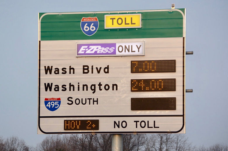Eastbound tolls on Interstate 66 fluctuated, but increased gradually during the morning rush-hour on Monday, Dec. 4, 2017. (WTOP/Dave Dildine)