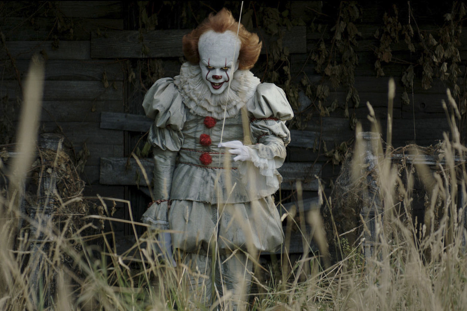 "This image released by Warner Bros. Pictures shows Bill Skarsgard in a scene from ""It."" (Warner Bros. Pictures via AP)"