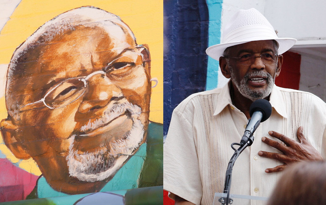 A mural on the side of Ben's Chili Bowl depicts NBC Washington anchor Jim Vance. Right, Vance speaks at the unveiling. (WTOP/Kate Ryan)