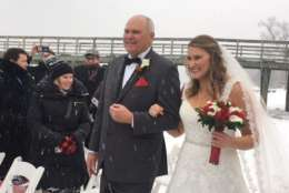 Former WTOP intern and Federal News Radio employee Emily Jarvis gets married in the winter wonderland in North East, Maryland. (Courtesy Jolie Lee)
