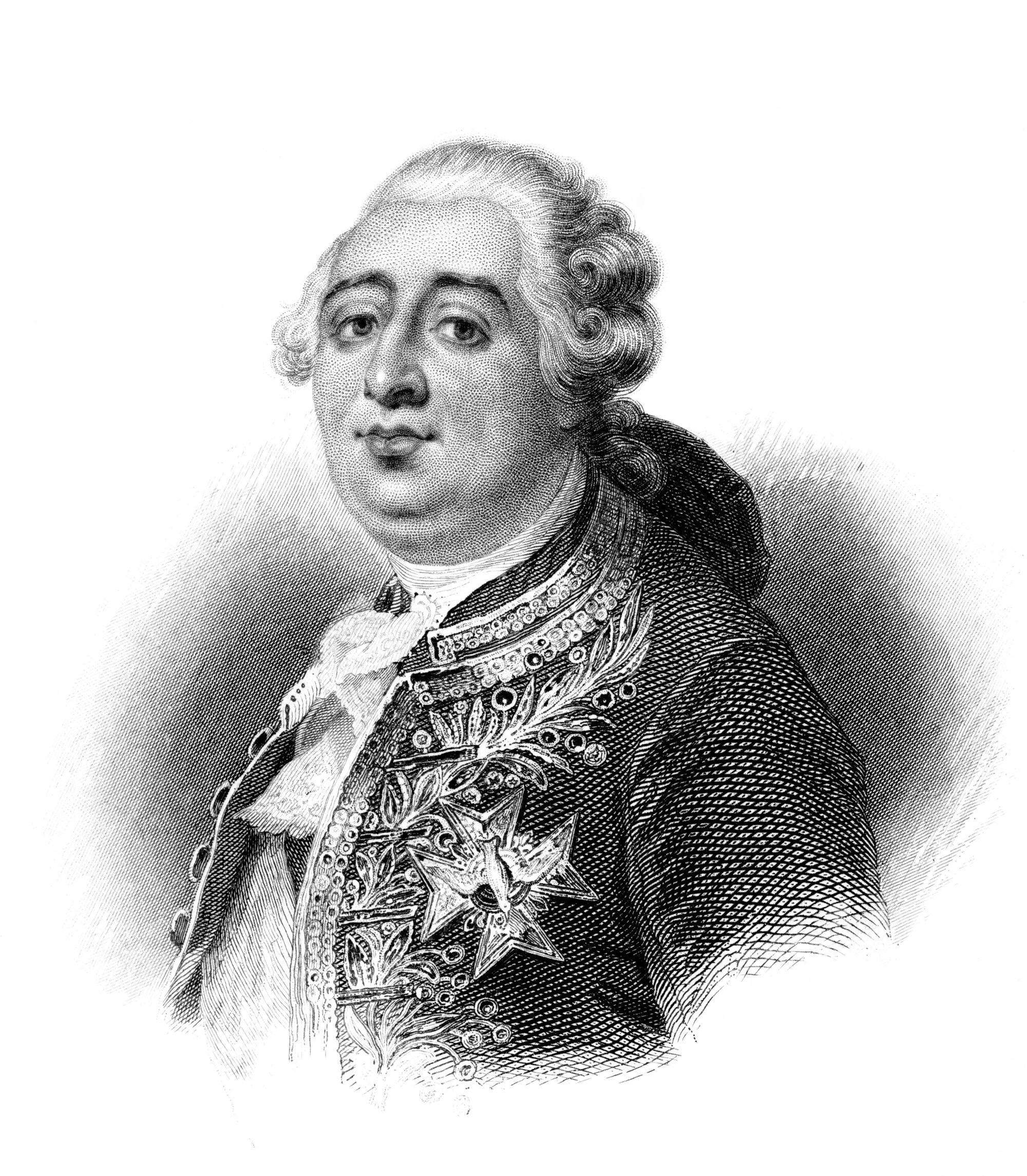 An engraved illustration portrait of King Louis XVI during the French Revolution  from a Victorian book dated 1881 that is no longer in copyright